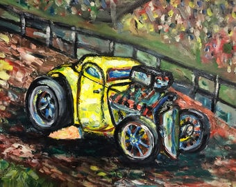 The Race original oil painting on canvas by Wyoming artist Mike Karr! 14x18 original artwork car racing painting