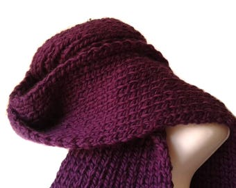 Purple Pure Merino Wool Chunky Knit Scarf ALLIE Men Woman - Ready to Ship Winter