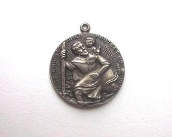 Sterling Chapel Vintage Saint Christopher Medal