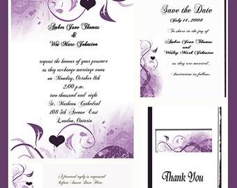 Eggplant Heart Design Wedding  Invitation Package Editable Download