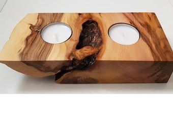 Wooden tea light holder (Yew)