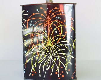 Vintage Tin Container made in Western Germany Decorative Canister Mid Century Home Decor