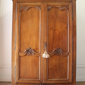 19th Century Large French Walnut Carved Armoire