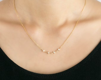 Multi diamond star chain necklace, tiny diamond station necklace, 14k solid gold, rose gold, white gold chain necklace