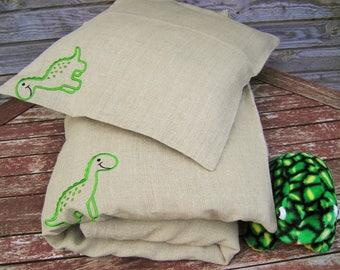 100% Linen Baby Bedding Set 3pcs, Pure Linen Bed Linen HANDMADE, Nursery Bedding, Grey with Dinosaurs - Sheet, Duvet Cover, Pillowcase