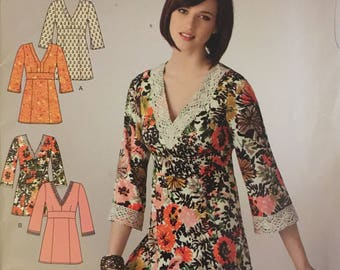 Simplicity 2322, Size 10-12-14-16-18-20-22, Misses' Pullover Tunic Pattern, UNCUT, Back Ties, V-Neckline, Below Hip, Its So Easy Pattern