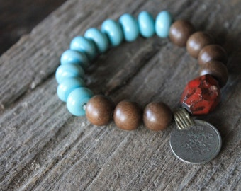 No. 072  Modern Mala Stacking Bracelet with Handmade Glass Beads Graywood Rounds and Vintage Afghan Coin - SRA Supported - Serenity