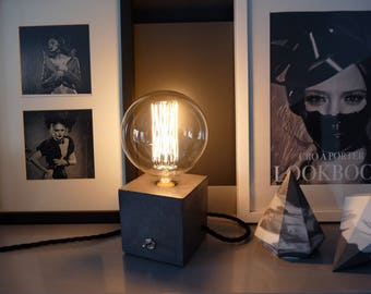 Concrete Lamp, Concrete table lamp, Concrete desk lamp, Industrial style, Concrete light, Table lamp, Black