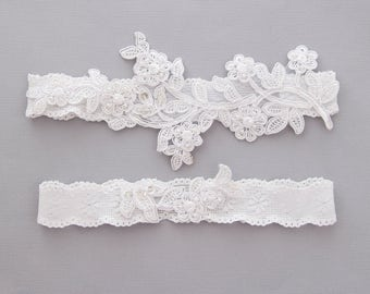 Wedding Garter Set, Pearl Beaded Lace Wedding Garter Set ,Ivory Lace Garter Set, Toss Garter,White Lace Garter Set  / GT-46IV