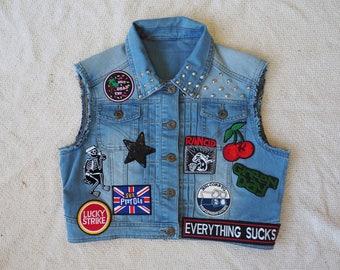 Lil'Rockers kids cropped denim Battle Vest - Size 16