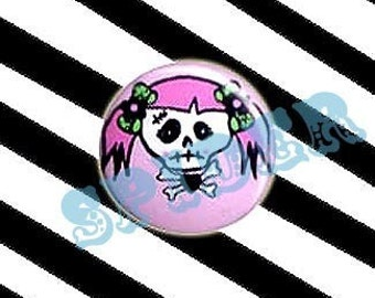 Miss Muerto (tm) Dead Girly Skull 1 inch Button Pin Day of the Dead Gothic Buttons Gothic Accessories
