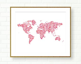 Gold world map heart etsy gumiabroncs Images