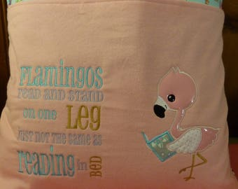 Flamingo Reading Buddy Pillow 18 x 18 inch PILLOW CASE ONLY