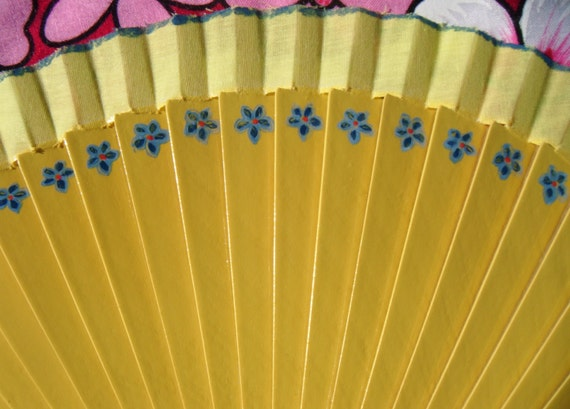MTO FORGET me NOT Yellow Handpainted Size Options Flamenco Folding Fan Abanico Hand Fan Hand Painted in Spain by Kate Dengra