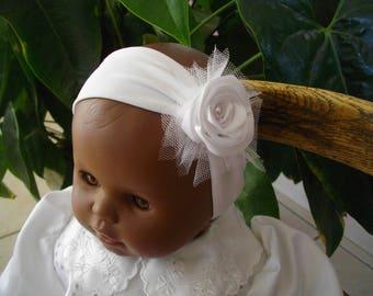Baby christening ceremony baby headband, headband baby hair accessory, hair, baby, baby flower satin headband.