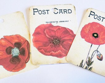Red Poppy Tags - Set of 6 - Red Flower Tag - Postcard Poppies - Poppy Gift Tags - Garden Flowers - Cottage Chic Tag -  Poppy Flower Tags