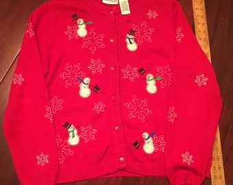 Vintage Petite LARGE Snowman Embroidered Sweater Cardigan