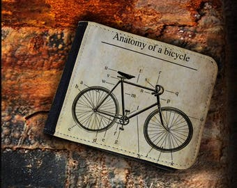 Valentine's gift Perfect Christmas gift Bicycle anathomy  vintage book hipster bike shop lover wallet