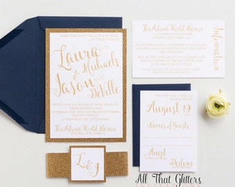Navy Glitter wedding invitation suite, Gold and Navy Wedding Invitations, Navy and Gold Wedding Invitations Glitter, Laura