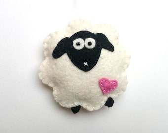 Felt Sheep ornament - Christmas decor lamb home decoration handmade nursery Housewarming Easter Baby shower eco-friendly Holiday gift idea