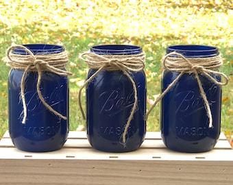 Navy Blue Set of Mason Jars
