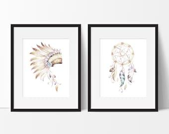 Native American Prints - Dreamcatcher Print - Watercolor Art Print - Headdress Print - Dream Catcher Print - Home Decor - Set of 2 Prints