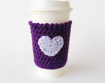 Purple Coffee Sleeve, Coffee Cozy,  Coffee Cup Sleeve, Tea Cozy, Heart Cozy, Gift For Mom, Co-Worker Gift