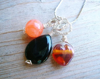Black Onyx Pendant - Silver Wire Wrapped Pendant - Fall Fashion - Black Gemstone Jewelry