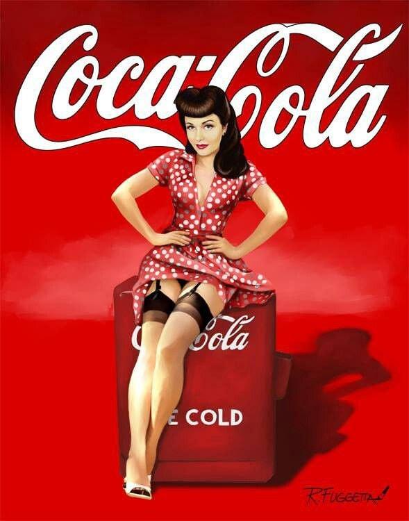 Estremamente Vintage Coca-Cola Pin Up Girl Nostalgia Reproduction NW66