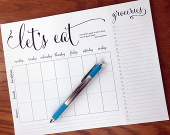 "On Top of It ""Let's Eat"" Weekly quote meal planning note pad with tear-off grocery list, weekly meal planner notepad fridge meal planner pad"