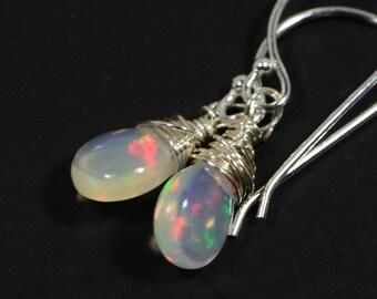 Welo Ethiopian Opal Earrings Sterling silver Tiny Earrings Jewelry Birthstone October