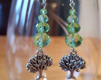Green Glass bead dangle earring with Tree charm