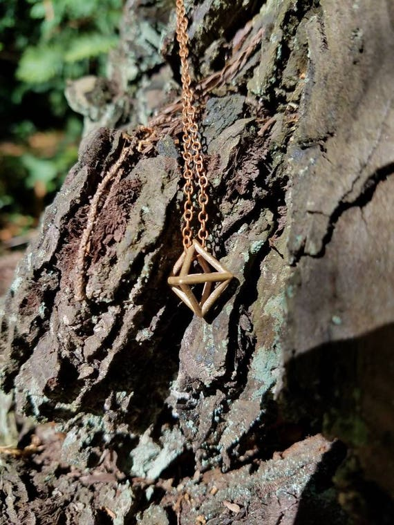 Octahedron Platonic Solid Bronze Pendant with Chain