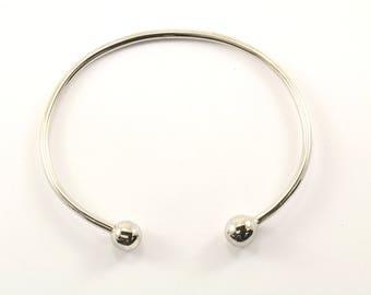 Vintage Rounded Ends Bangle Bracelet Sterling Silver BR 289