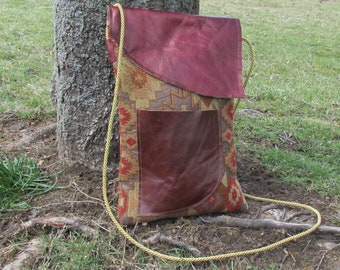 Tapestry Chenille  & Leather Cross-Body Bag