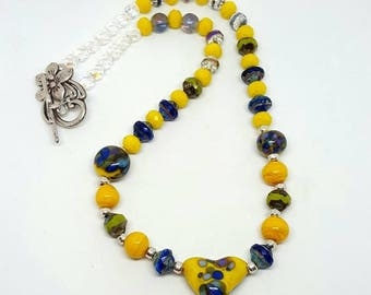Yellow and Blue Bohemian Necklace - Yellow Necklace - Blue Necklace - Bohemian Necklace - Yellow Bohemian Necklace - Blue Bohemian Necklace