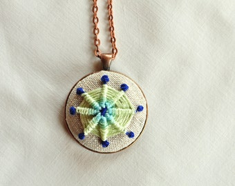 Embroidered Necklace. Woven Pendant. Colorful Boho Jewelry. Mint Green Pendant Necklace. Gifts For Her. Bohemian Hand Stitched Necklace.