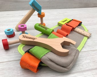 Personalised wooden tool belt for pretend play gift for him gift for her