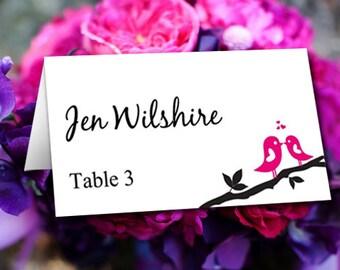 """Love Bird Wedding Place Card Template - Wedding Escort Card """"Love Bird Branch"""" Fuchsia Hot Pink Wedding Table Card - Wedding Name Card"""