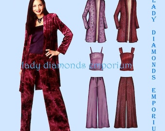 New Look 6202 Womens Camisole Duster Long Jacket Over-shirt Wide Leg Pants size 6 8 10 12 14 16 Easy OOP Sewing Pattern Uncut FF