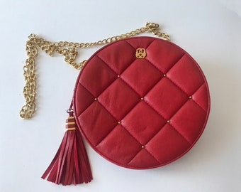 Vintage Red Italian Quilted Round Crossbody Leather Handbag with Gold Chain