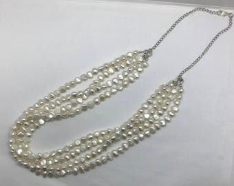 White Freshwater Pearl MultiStrand Necklace, White Pearl Necklace, Classy Statement Necklace, Handmade, one-of-a-kind!