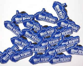 Price per Pin Vintage West Virginia Wild Wonderful Lapel Pin WV State Blue and White Plastic vtg Tie Tack Retro Fashion Mountain State Pin