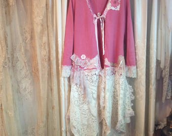 Shabby Pink Sweater, vintage lace, altered couture, tattered chic shabby sweater coat, long sweater, MEDIUM