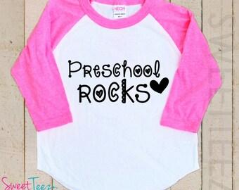Preschool Rocks Shirt Boy Girl Shirt Kids Raglan Shirt