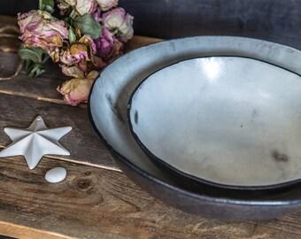 Ceramic Bowls set, Ceramic Serving Bowls ,Wabi Sabi bowls, Handmade Pottery Bowls,  Mixing Bowls, White Pottery Bowls, Holiday Gift
