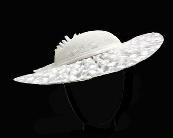 Large designer White hat with see thru embroidered fabric as the brim. For Derby, Races, Dressy, Weddings, church, spring and summer.