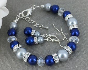 Cobalt and Grey Bracelet Blue and Silver Bracelet Bridesmaid Gift Bridesmaid Bracelet Bridesmaid Jewelry Cobalt Blue Jewelry