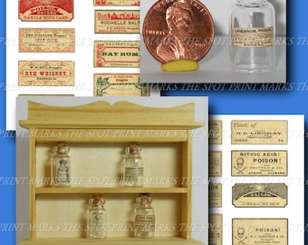 1:12 Scale Dollhouse Miniature Vintage Apothecary Poison Labels Instant Digital Download Collage Sheet