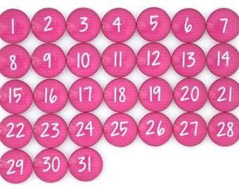 31 caldo rosa calendario numero vetro magneti - nuovo!